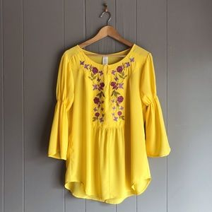 Floral Embroidered Bell Sleeve Tunic